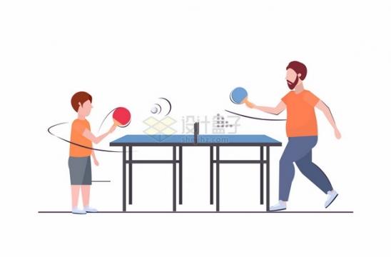 父子两在乒乓球台前打乒乓球838832png图片素材