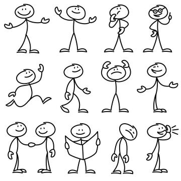 12款各种表情的手绘线条卡通小人儿童简笔画图片免抠矢量素材
