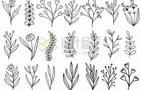 21款黑色线条手绘花朵叶子图案png图片素材