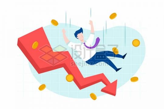 卡通商务人士不断的掉落和向下的红色折线象征了经济危机金融危机的来临png图片免抠矢量素材