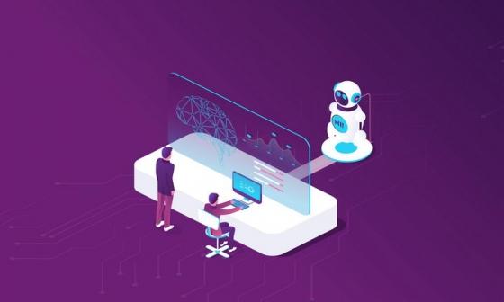 2.5D立体风格正在操作高科技计算机和机器人的IT人士免抠矢量图片素材