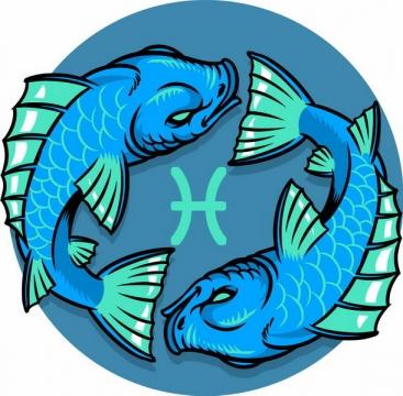 蓝色和绿色卡通双鱼座十二星座png图片免抠矢量素材