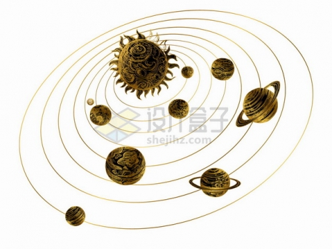 金色太阳系手绘插画png图片素材