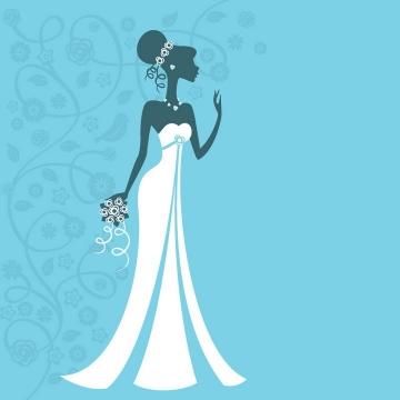 扁平化风格身穿白色婚纱的新娘剪影png图片免抠矢量素材