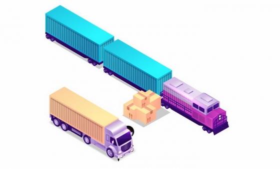 2.5D风格拉着集装箱的货运火车和货车png图片免抠矢量素材