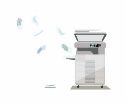 扁平化风格激光一体打印机和纷飞的打印纸png图片免抠eps矢量素材