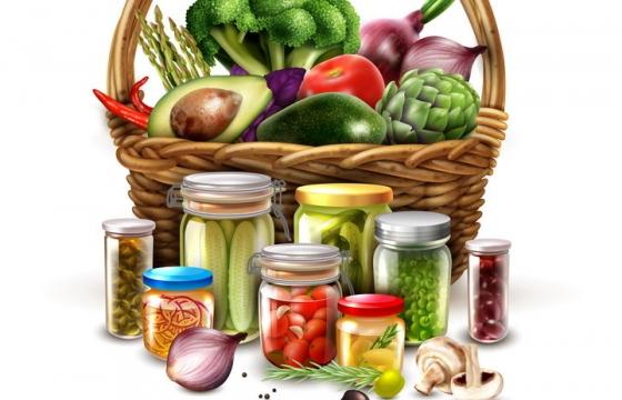 菜篮子和腌制蔬菜美食图片免抠素材