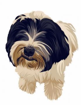 彩绘西施犬宠物狗品种png图片免抠矢量素材