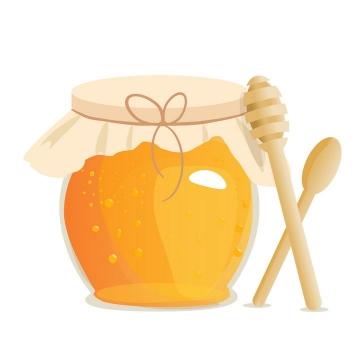 封装起来的圆形玻璃罐中的蜂蜜美食和蜂蜜棒免抠矢量图片素材