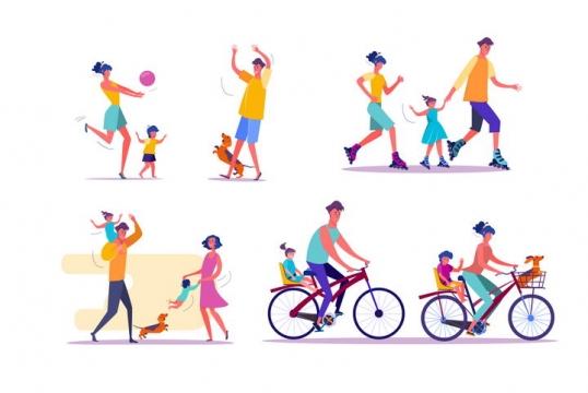 5款扁平插画风格快乐的一家三口或一家四口图片免抠矢量素材