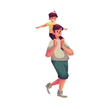 插画风格儿子骑在年轻爸爸的脖子上父子温情图片免抠矢量图素材
