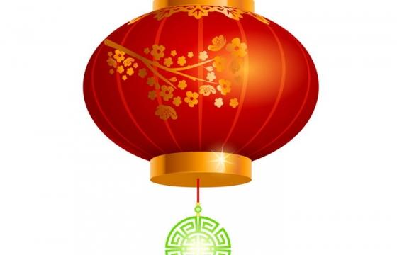 带有梅花图案的新年春节大红灯笼图片免抠矢量素材