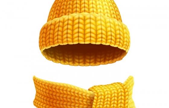 黄色毛线织成的围巾和针织帽子图片免抠矢量素材