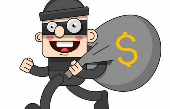 扛着钱袋正在逃跑的卡通小偷png图片免抠矢量素材