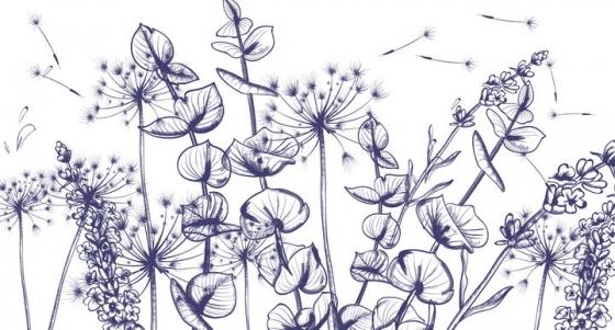 紫色手绘素描风格蒲公英等植物图片免抠矢量素材