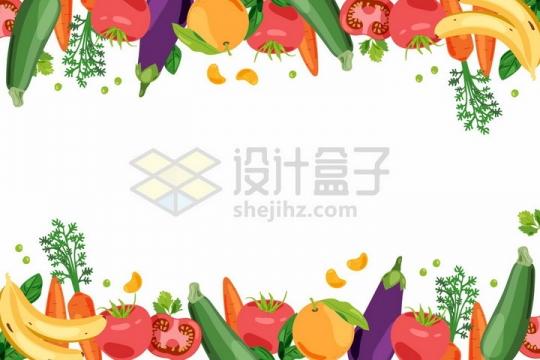 黄瓜西红柿胡萝卜茄子橘子香蕉等组成的蔬菜水果装饰png图片免抠矢量素材