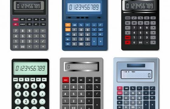 6款逼真的按键计算器科学计算器办公用品png图片免抠矢量素材