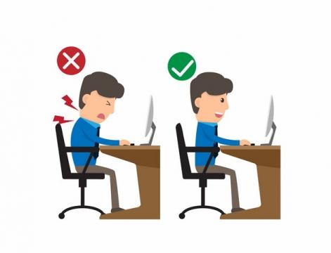 正确坐姿和错误坐姿对颈椎的伤害对比131954png图片素材