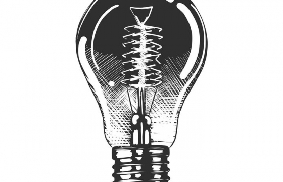 黑色手绘风格电灯泡白炽灯泡插图免抠矢量图片素材