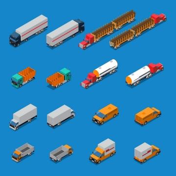 16款2.5D风格的卡车油罐车汽车图片免抠素材