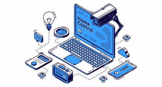 扁平插画风格笔记本电脑和上面的监控摄像头象征了个人信息安全png图片免抠矢量素材