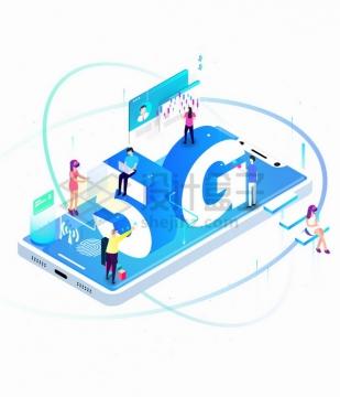 3D立体5G字体在手机的各种应用png图片素材