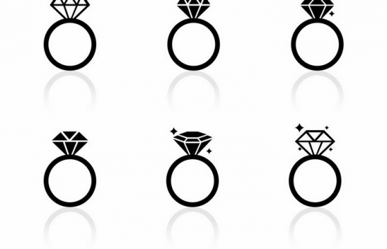 6款黑色钻石结婚订婚求婚戒指图案png图片免抠矢量素材