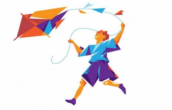 多边形色块组成的男孩正在放风筝png图片免抠eps矢量素材