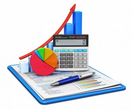 商务报告上的计算器数据增长箭头png图片素材