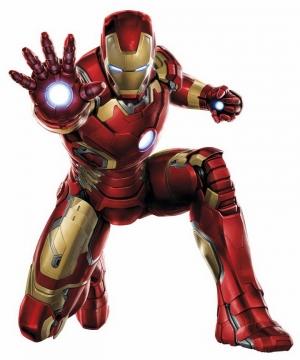 半蹲在地上用掌心炮怼你的钢铁侠漫威电影超级英雄图片免抠素材