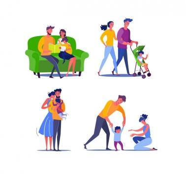 4款扁平插画风格快乐的一家三口图片免抠矢量素材
