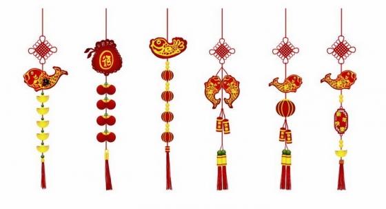 新年春节双鱼挂饰年年有余吊坠png图片免抠矢量素材
