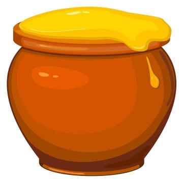 坛子中溢出来的蜂蜜美食免抠矢量图片素材