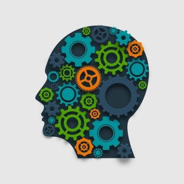 各种齿轮组成的人体大脑创意抽象思维免抠矢量图片素材