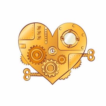 蒸汽朋克风格上发条的齿轮心形图案png图片免抠矢量素材
