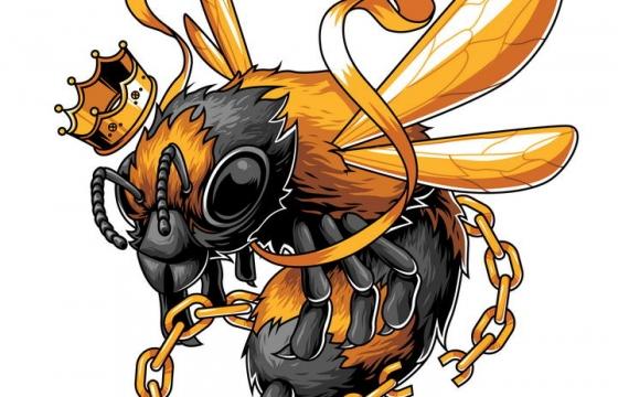 超酷漫画风格挣脱枷锁铁链的蜜蜂马蜂免抠矢量图片素材