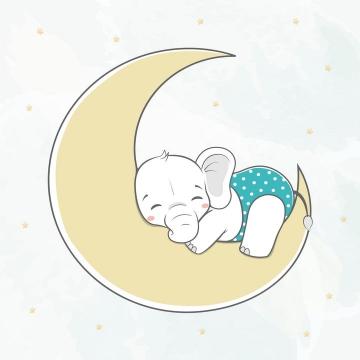 趴在月亮上睡觉的卡通小象图片免抠矢量素材