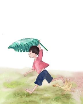 可爱卡通手绘插画风格躲雨的小男孩童年农村生活图片免抠素材