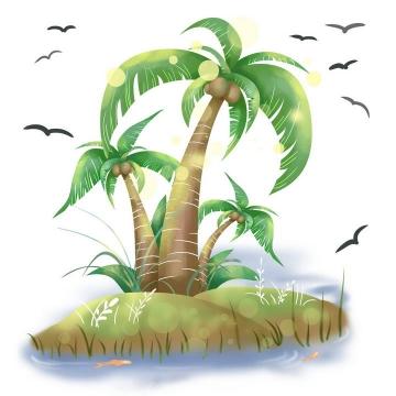 手绘光晕风格热带海岛椰子树风景图免抠素材