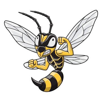 卡通风格举起拳头的蜜蜂马蜂免抠矢量图片素材