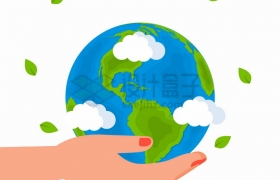 手上托着的卡通地球模型保护地球png图片素材