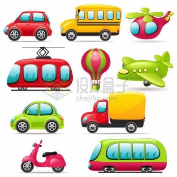卡通小汽车校车直升机有轨电车飞机摩托车等交通工具675788png图片素材