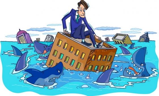 卡通商务人士洪水中躲避鲨鱼象征了金融危机png图片素材