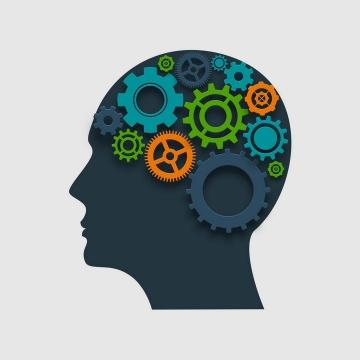 各种齿轮组成的人体大脑结构创意抽象思维免抠矢量图片素材