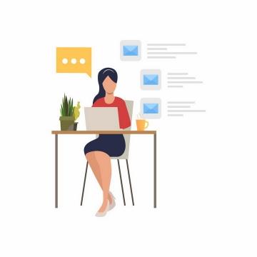 扁平插画坐在电脑跟前阅读邮件的职场女性png图片免抠矢量素材