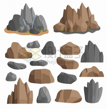 各种卡通花岗岩石头石灰岩巨石块等png图片素材