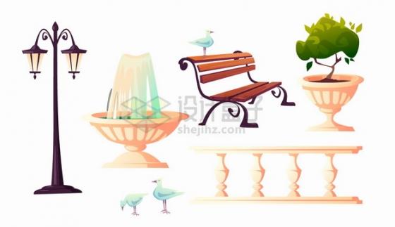 复古路灯喷泉长椅花坛栏杆等公园设施png图片素材