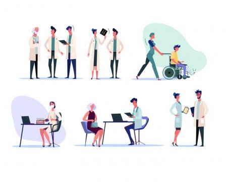 6款扁平插画风格医院的医生和护士图片免抠矢量素材