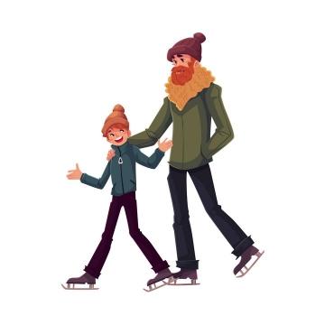 插画风格和儿子勾肩搭背的爸爸父子温情图片免抠矢量图素材