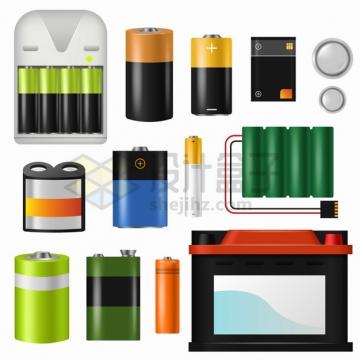 各种碱性电池AA电池充电电池锂电池手机电池汽车电瓶等png图片素材
